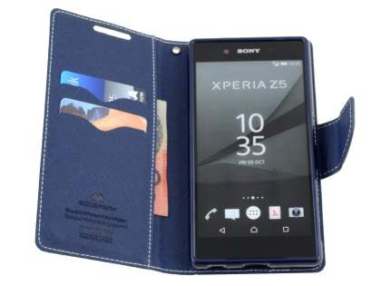 Mercury Goospery Colour Fancy Diary Case with Stand for Sony Xperia Z5 - Lime/Navy