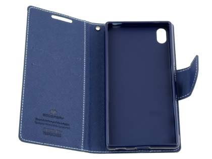 Mercury Colour Fancy Diary Case with Stand for Sony Xperia Z5 - Lime/Navy