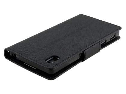 Mercury Colour Fancy Diary Case with Stand for Sony Xperia Z5 - Classic Black