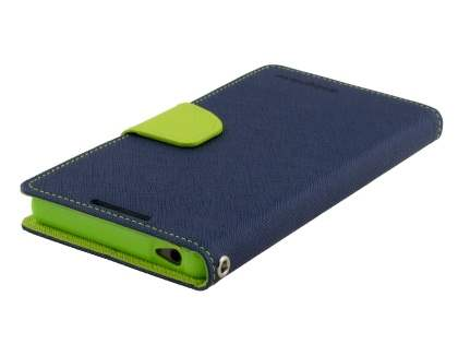 Mercury Goospery Colour Fancy Diary Case with Stand for Sony Xperia Z5 - Navy/Lime