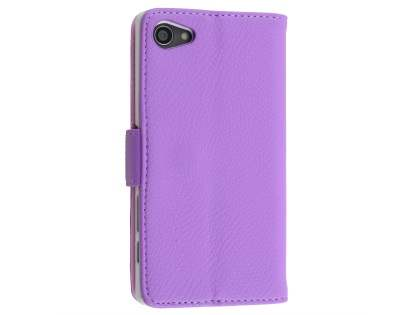 Slim Synthetic Leather Wallet Case with Stand for Sony Xperia Z5 Compact - Light Purple Leather Wallet Case for Sony