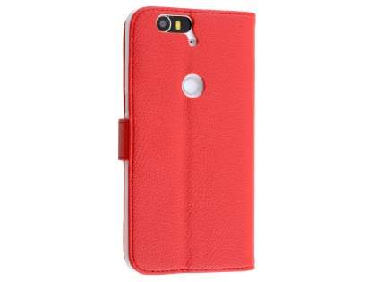 Synthetic Leather Wallet Case with Stand for Huawei Nexus 6P - Red Leather Wallet Case