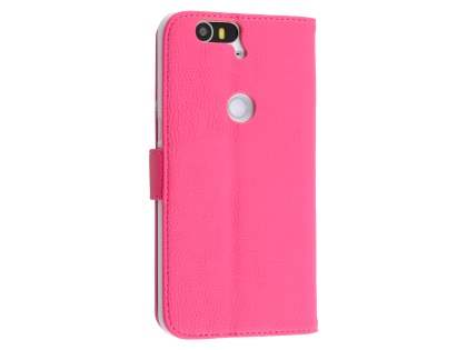 Synthetic Leather Wallet Case with Stand for Huawei Nexus 6P - Hot Pink Leather Wallet Case