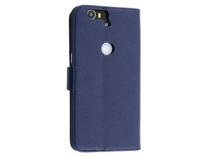 Synthetic Leather Wallet Case with Stand for Huawei Nexus 6P - Dark Blue Leather Wallet Case for Huawei