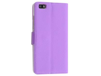 Synthetic Leather Wallet Case with Stand for Huawei P8Lite - Light Purple Leather Wallet Case