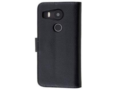 Slim Synthetic Leather Wallet Case with Stand for LG Nexus 5X - Classic Black Leather Wallet Case