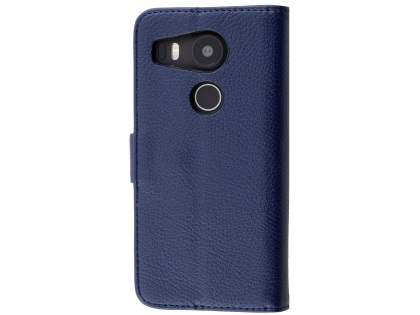 Slim Synthetic Leather Wallet Case with Stand for LG Nexus 5X - Dark Blue Leather Wallet Case