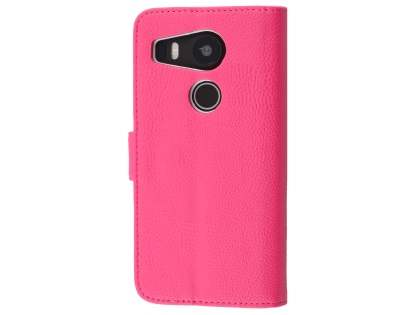 Slim Synthetic Leather Wallet Case with Stand for LG Nexus 5X - Hot Pink