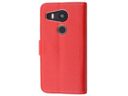 Slim Synthetic Leather Wallet Case with Stand for LG Nexus 5X - Red Leather Wallet Case