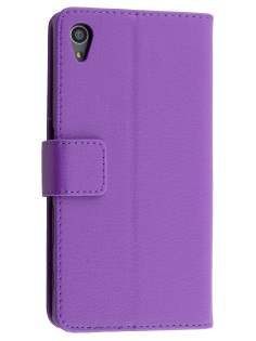 Slim Synthetic Leather Wallet Case with Stand for Sony Xperia Z5 - Purple Leather Wallet Case