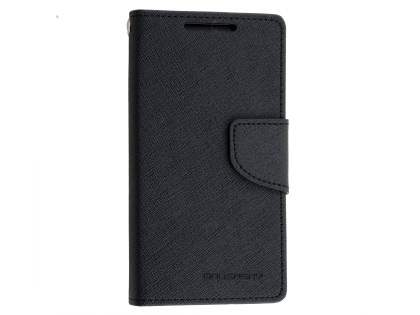 Mercury Colour Fancy Diary Case with Stand for Sony Xperia Z5 Compact - Classic Black Leather Wallet Case