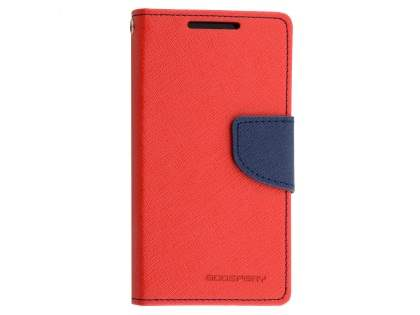 Mercury Colour Fancy Diary Case with Stand for Sony Xperia Z5 Compact - Red/Navy Leather Wallet Case