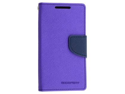Mercury Colour Fancy Diary Case with Stand for Sony Xperia Z5 Compact - Purple/Navy Leather Wallet Case