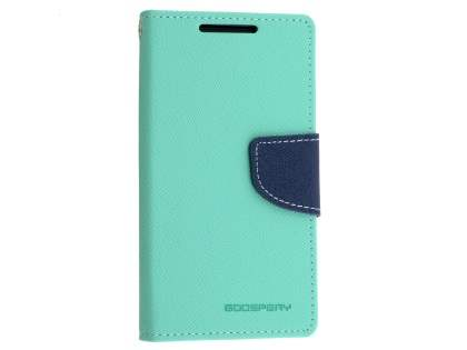 Mercury Colour Fancy Diary Case with Stand for Sony Xperia Z5 Compact - Mint/Navy Leather Wallet Case