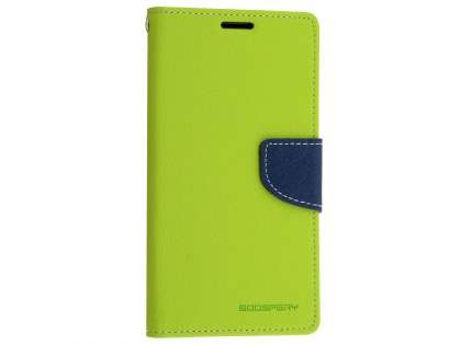 Mercury Goospery Colour Fancy Diary Case with Stand for Sony Xperia M5 - Lime/Navy Leather Wallet Case