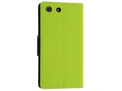 Mercury Colour Fancy Diary Case with Stand for Sony Xperia M5 - Lime/Navy
