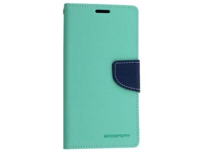 Mercury Colour Fancy Diary Case with Stand for Sony Xperia M5 - Mint/Navy Leather Wallet Case