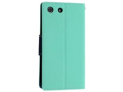 Mercury Colour Fancy Diary Case with Stand for Sony Xperia M5 - Mint/Navy Leather Wallet Case for Sony