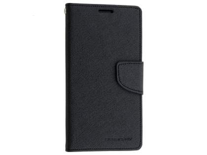 Mercury Goospery Colour Fancy Diary Case with Stand for Sony Xperia M5 - Classic Black Leather Wallet Case