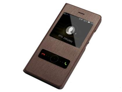 Premium Leather Smart View Case for Huawei P8Lite - Brown S View Cover