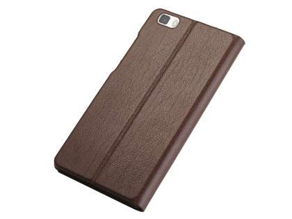 Premium Leather Smart View Case for Huawei P8Lite - Brown