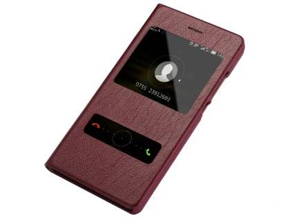Premium Leather Smart View Case for Huawei P8Lite - Rosewood S View Cover