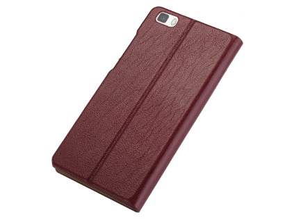 Premium Leather Smart View Case for Huawei P8Lite - Rosewood