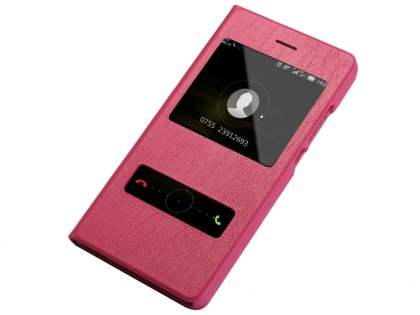 Premium Leather Smart View Case for Huawei P8Lite - Hot Pink S View Cover