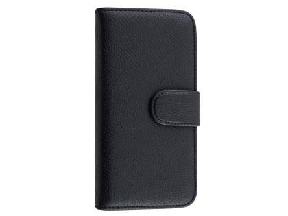 Synthetic Leather Wallet Case with Stand for iPhone 6s Plus/6 Plus - Classic Black