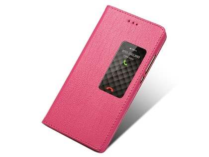 Premium Leather Smart View Case for Huawei P8 - Hot Pink