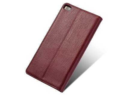 Premium Leather Smart View Case for Huawei P8 - Rosewood