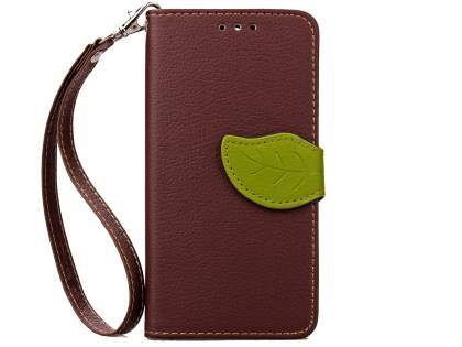 Slim Synthetic Leather Wallet Case with Stand for HTC Desire 520 - Brown/Green Leather Wallet Case