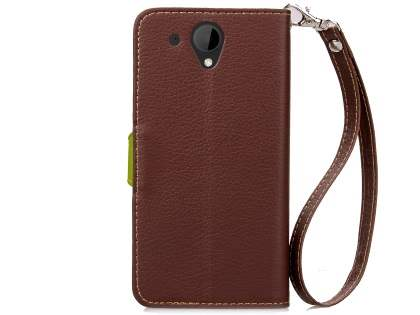 Slim Synthetic Leather Wallet Case with Stand for HTC Desire 520 - Brown/Green
