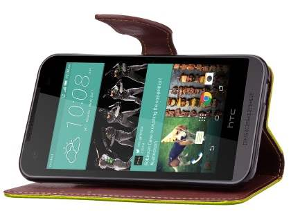 Slim Synthetic Leather Wallet Case with Stand for HTC Desire 520 - Green/Brown