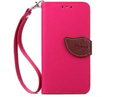 Slim Synthetic Leather Wallet Case with Stand for HTC Desire 520 - Pink/Brown Leather Wallet Case