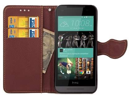 Slim Synthetic Leather Wallet Case with Stand for HTC Desire 520 - Pink/Brown