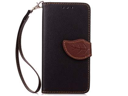 Slim Synthetic Leather Wallet Case with Stand for HTC Desire 520 - Black/Brown Leather Wallet Case