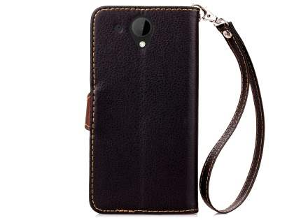 Slim Synthetic Leather Wallet Case with Stand for HTC Desire 520 - Black/Brown