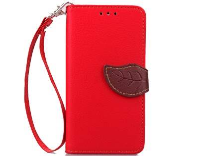Slim Synthetic Leather Wallet Case with Stand for HTC Desire 520 - Red/Brown Leather Wallet Case