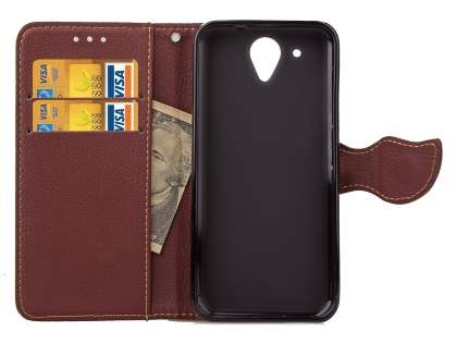 Slim Synthetic Leather Wallet Case with Stand for HTC Desire 520 - Red/Brown
