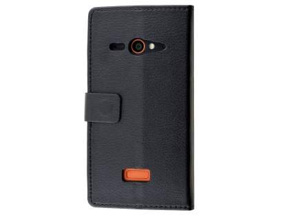 Slim Synthetic Leather Wallet Case with Stand for ZTE Telstra Tough Max - Classic Black Leather Wallet Case