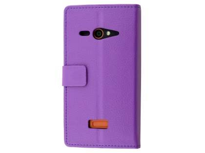 Slim Synthetic Leather Wallet Case with Stand for Telstra Tough Max - T84 - Purple Leather Wallet Case