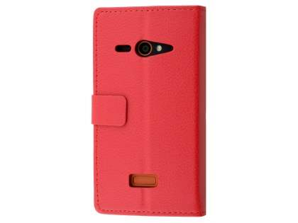 Slim Synthetic Leather Wallet Case with Stand for ZTE Telstra Tough Max - Red Leather Wallet Case