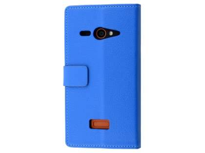 Slim Synthetic Leather Wallet Case with Stand for ZTE Telstra Tough Max - Blue Leather Wallet Case