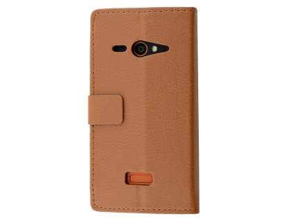 Slim Synthetic Leather Wallet Case with Stand for ZTE Telstra Tough Max - Brown Leather Wallet Case