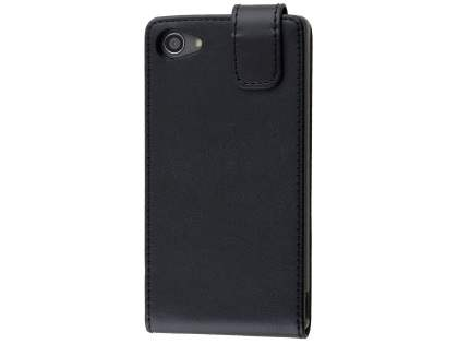 Synthetic Leather Flip Case for Sony Xperia Z5 Compact - Classic Black Leather Flip Case