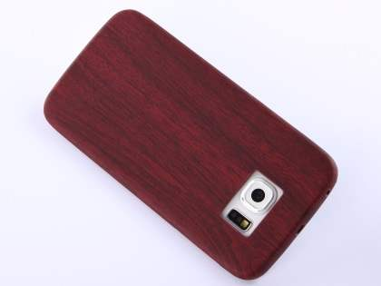 Wood Pattern Soft TPU Case for Samsung Galaxy S6 Edge - Mahogany