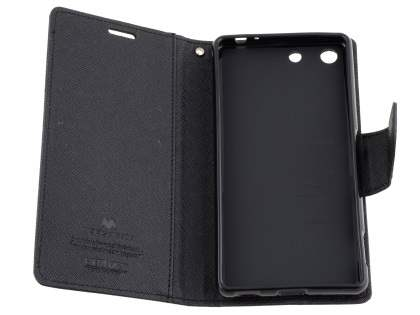 Mercury Colour Fancy Diary Case with Stand for Sony Xperia M5 - Classic Black