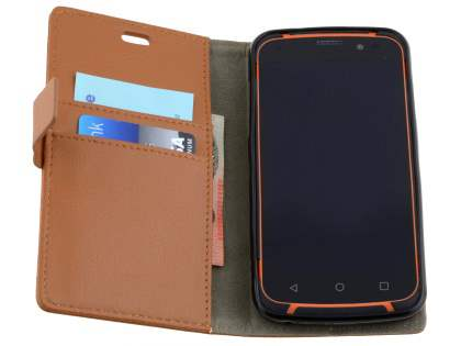 Slim Synthetic Leather Wallet Case with Stand for ZTE Telstra Tough Max - Brown