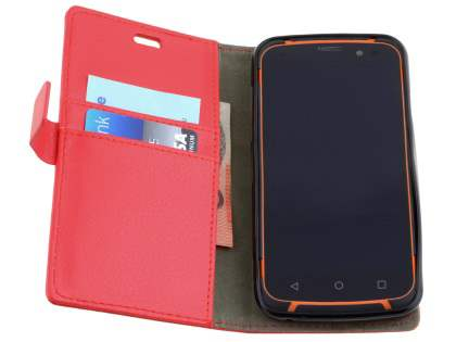 Slim Synthetic Leather Wallet Case with Stand for ZTE Telstra Tough Max - Red